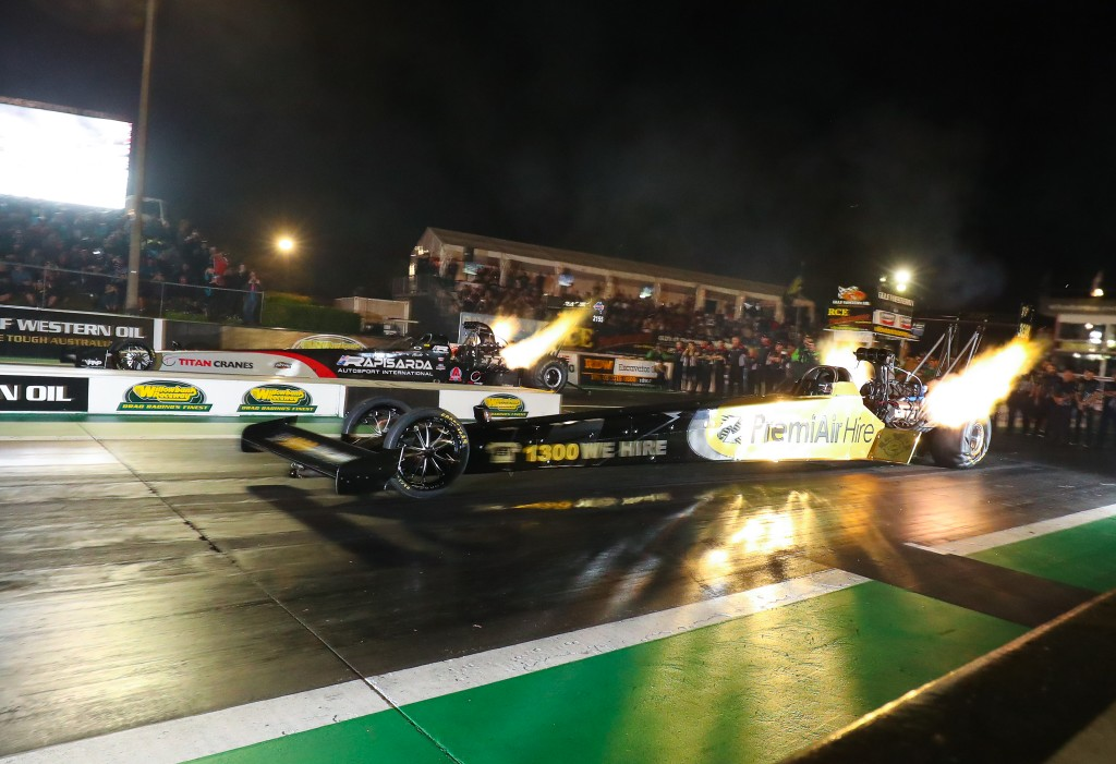 Peter Xiberras takes on Wayne Newby in Top Fuel, image by Dave Reid / Dragphotos.com.au
